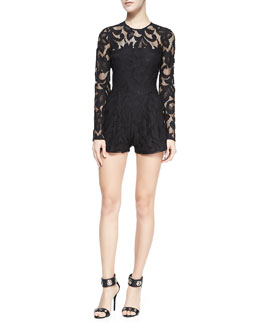Alexis Montreuil Lace Open-Back Short Jumpsuit