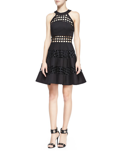 Alexis Pau Cage-Stripe Flare Dress