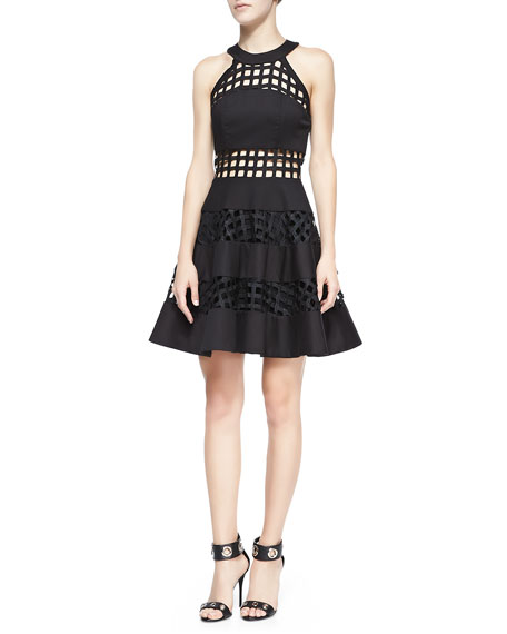 Pau Cage-Stripe Flare Dress