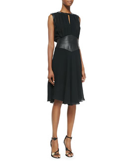 L'Agence Sleeveless Pleated Leather Bodice Dress