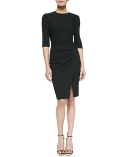 L'Agence 3/4-Sleeve Side-Pleated Dress