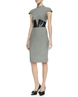 L'Agence Suit Dress with Leather Corset
