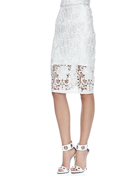 Alexis Larssa Embroidered-Lace Pencil Skirt