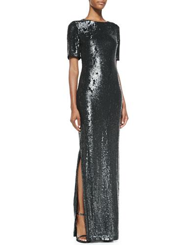 Rachel Gilbert Half-Sleeve Sequin Gown