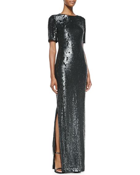 Half-Sleeve Sequin Gown
