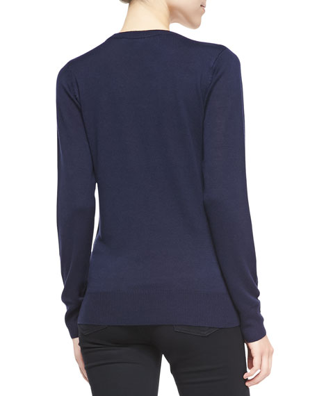 Geeky Owl Knit Sweater, Navy/White/Black