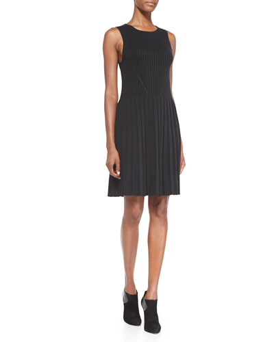 Trina Turk Lydia Rib-Knit Fit-And-Flare Sweaterdress, Black