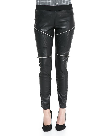 Blank Quilted Zip Trim Faux-Leather Moto Leggings, Black