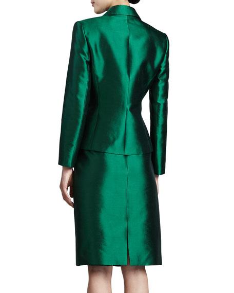 tahari pleated jacket skirt suit emerald
