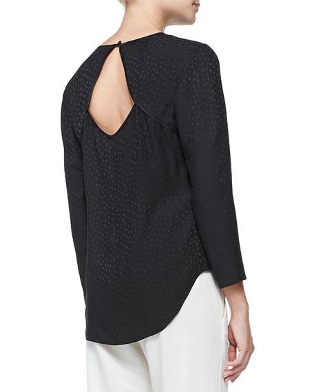 Silk Dotted Jacquard Long-Sleeve Tee, Black