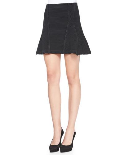 Veronica Beard Ribbed Knit Flounce Skirt