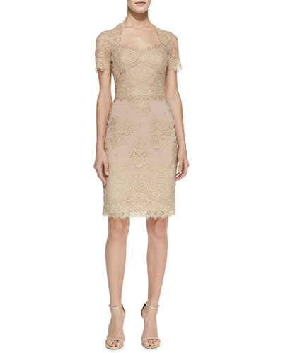 Notte by Marchesa Short-Sleeve Metallic Lace Cocktail Dress