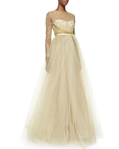 Notte by Marchesa Lace-Overlay Ball Gown with Tulle Skirt
