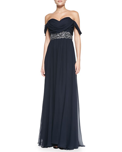 Notte by Marchesa Off-Shoulder Beaded-Waist Gown