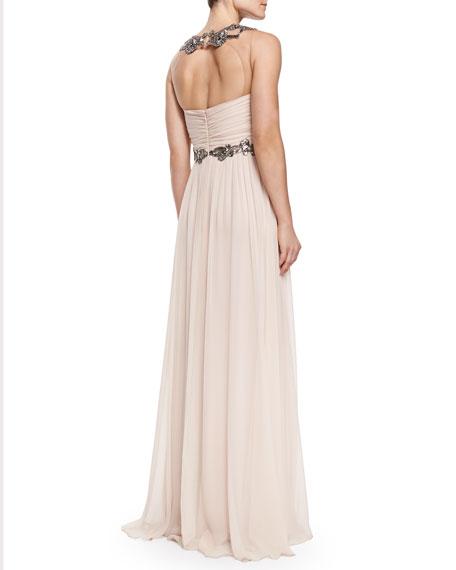 Sleeveless Chiffon Beaded-Neck/Waist Gown
