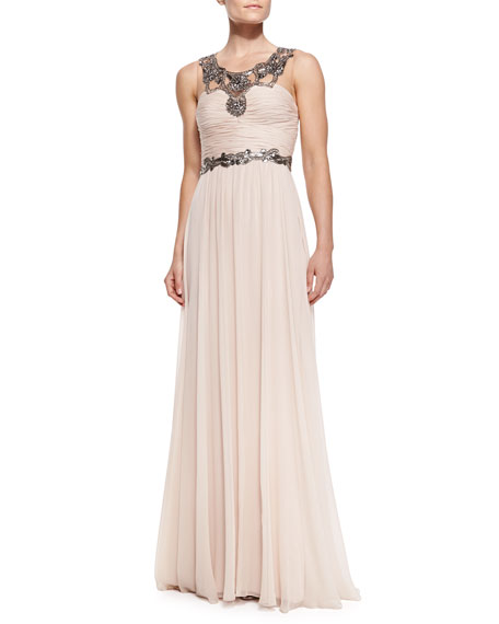 Notte by Marchesa Sleeveless Chiffon Beaded-Neck/Waist Gown