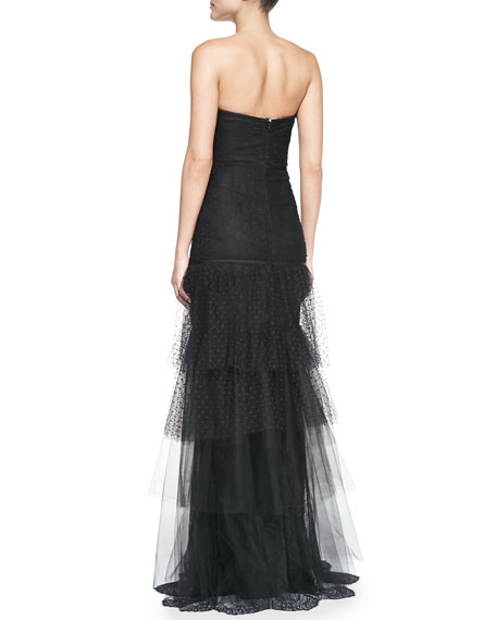 Marchesa Notte Strapless Beaded-Waist Tulle-Skirt Gown