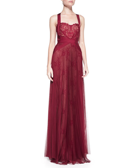 Lace-Overlay Tulle Halter Gown