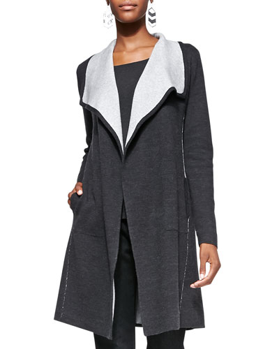 Eileen Fisher Cascading Long Luxe Double-Knit Cardigan, Petite