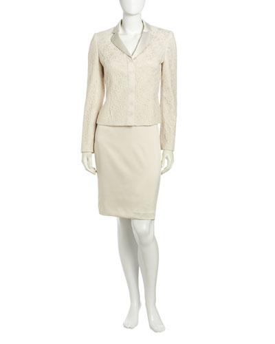 Albert Nipon Ivory Lace Sateen Skirt Suit, Ivory
