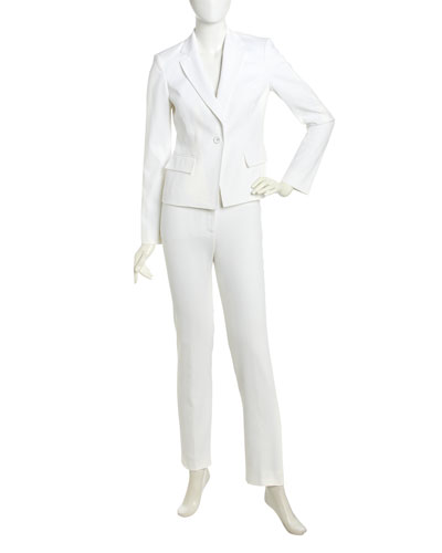 Albert Nipon Two-Piece Pique Knit Suit, Soft White