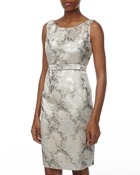 Floral Jacquard Jacket & Sheath Dress, Silver