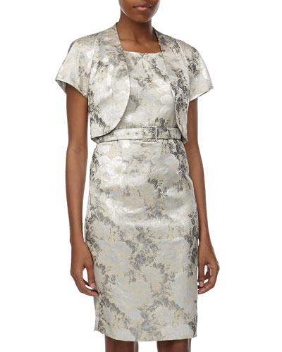 Albert Nipon Floral Jacquard Jacket & Sheath Dress, Silver