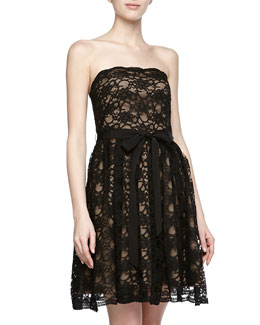 Aidan Mattox Lace Overlay Strap Dress, Black