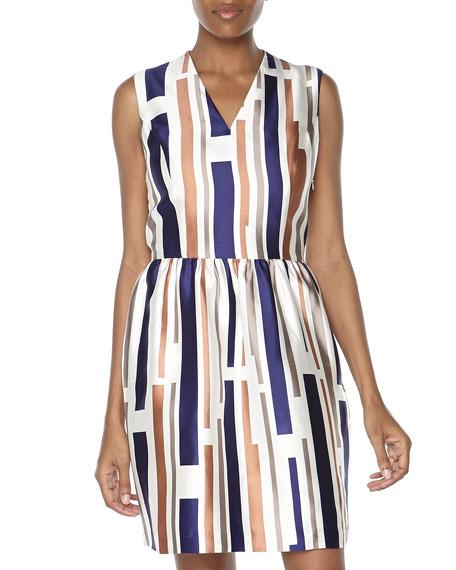 V-Neck Striped Shantung Dress, Cameo Stripe