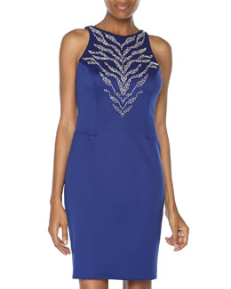 Alexia Admor Sleeveless Ponte Knit Beaded Dress, Royal/Silver