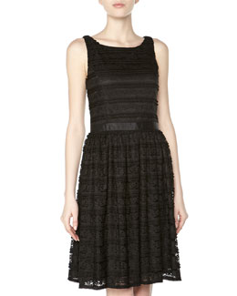 Alexia Admor Ruffled Lace Fit-And-Flare Dress, Black