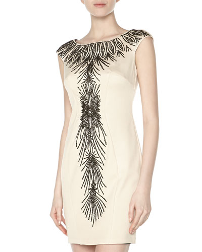 Alexia Admor Cap-Sleeve Fan Beaded Cocktail Dress, Champagne