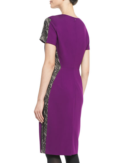 Lace-Panel Ponte Sheath Dress