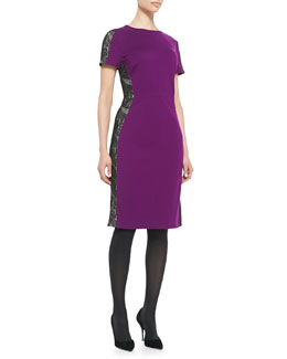 Magaschoni Lace-Panel Ponte Sheath Dress