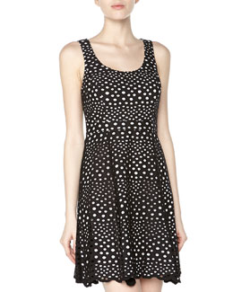 Ali Ro Sleeveless Eyelet Fit-And-Flare Dress, Black/White