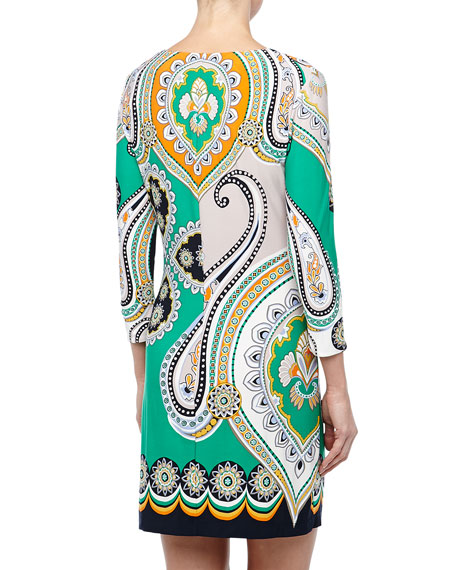 3/4-Sleeve Paisley-Print Shift Dress
