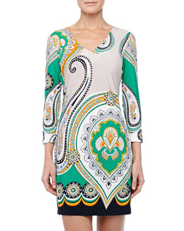 Ali Ro 3/4-Sleeve Paisley-Print Shift Dress