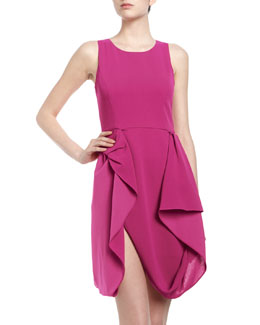 BCBGMAXAZRIA Gretchen Draped Skirt Crepe Cocktail Dress, Begonia
