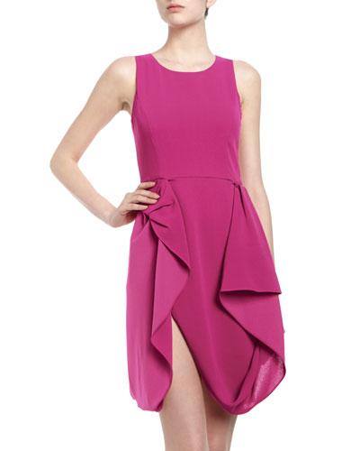 BCBGMAXAZRIA Gretchen Draped Skirt Crepe Cocktail Dress, Begonia