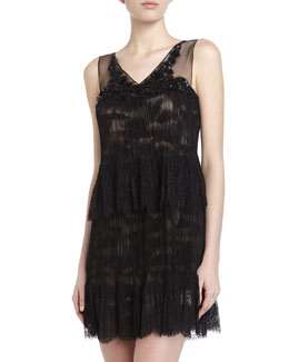 BCBGMAXAZRIA Cocktail Sleeveless Two-Tiered Dress