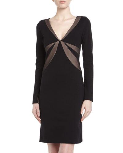 BCBGMAXAZRIA Three-Quarter-Sleeve Embellished Knit Dress, Black