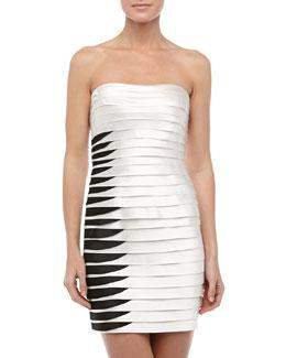 BCBGMAXAZRIA Strapless Two-Tone Layered Cocktail Dress, White/Black