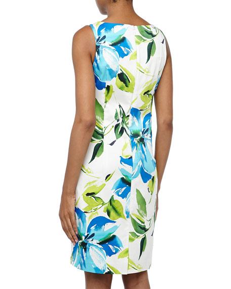 Floral-Print Poplin Sheath Dress, Royal/Multi