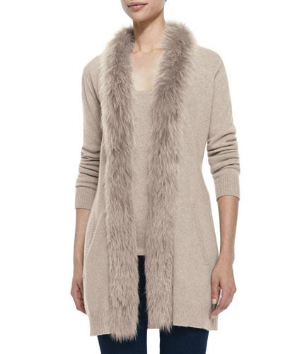 Sofia Cashmere Fur-Trimmed Cashmere Cardigan