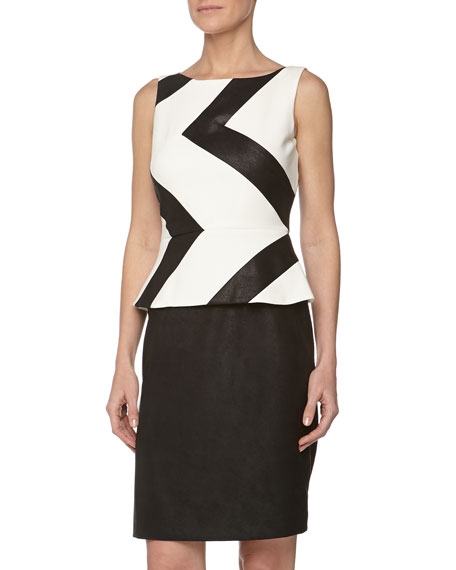 Zigzag Peplum Faux Leather Dress, Black/White