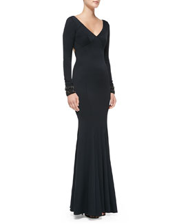 ZAC Zac Posen Long-Sleeve Beaded-Cuff Mermaid Gown