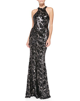 ZAC Zac Posen Halter-Neck Sequined Mermaid Gown