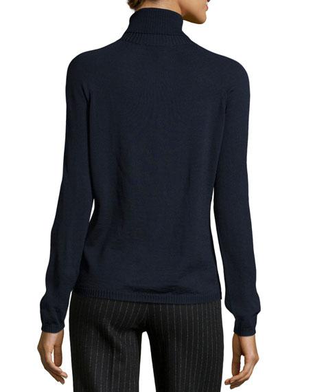 Sapia Lightweight Wool Turtleneck Sweater, Navy