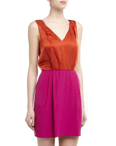 Cluny Colorblocked Silk Chemise Dress, Mango/Beet