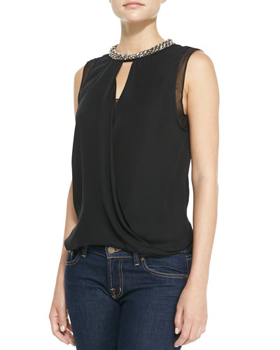 Rebecca Taylor Bead-Neck Draped Georgette Top